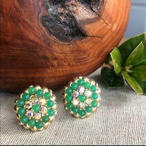 Vintage Green Aurora Borealis Clip Earrings